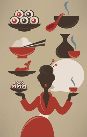 susi: Japanese menu, vector food collection in flat style Illustration