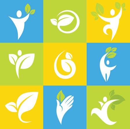 active life: vector collection of ecological symbols and signs