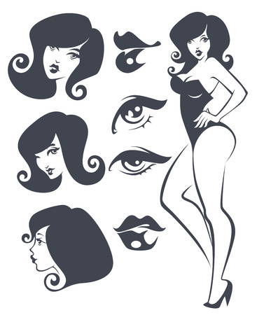 sit stay: vector collection of pinup girls and faces