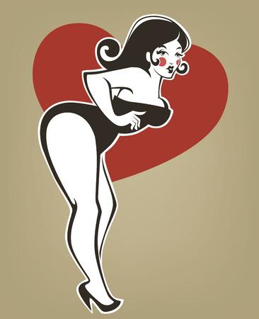 femme en sous vetement: plus la taille pin up fille sur fond beige