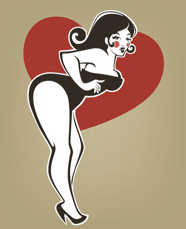 plus size girl: plus size pin up girl on beige background