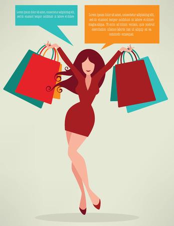 temporada de compras, niña y bolsas