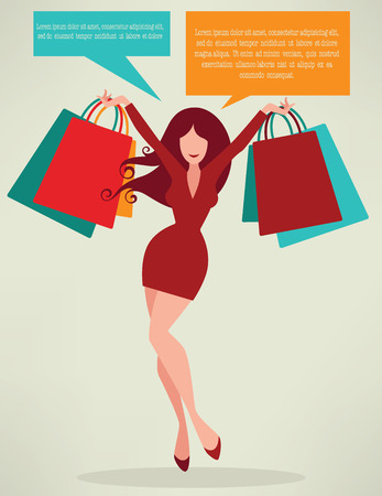 seizoen van winkelen, meisje en tassen