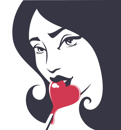 sexy image: beautiful girl and lollypop, vector illustration Illustration