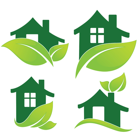 ecological: vector set of ecological homes signs and icons Illustration