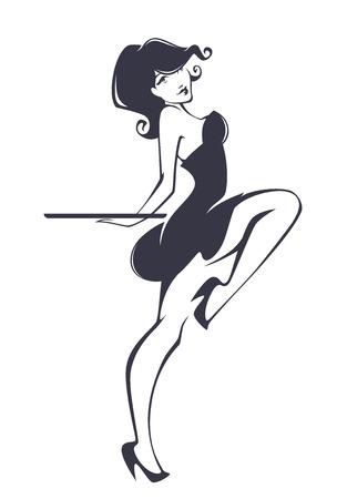 waitresses: pinup girl for your menu Illustration