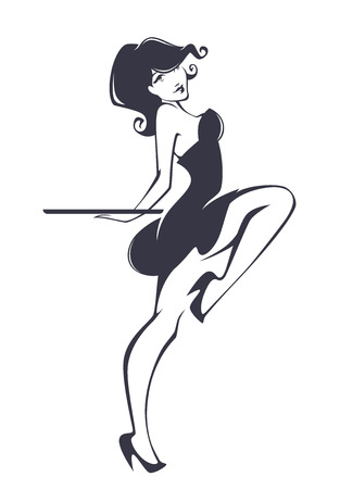 pinup girl for your menu Illustration