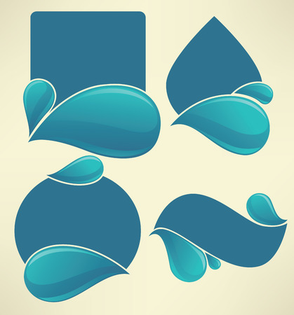 vector collection of water stickers and symbols