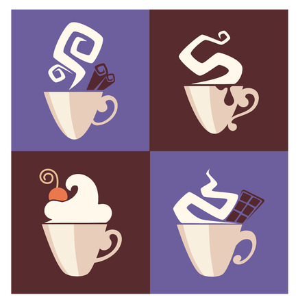 hot and sweet coffee, vector cups collection Vector