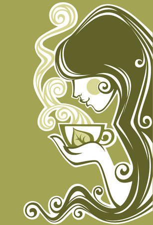 woman drinking tea: vector illustration with image of girl and cup of herbal tea