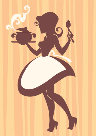 retro housewife: Home made cooking in retro style, vector commercial illustration