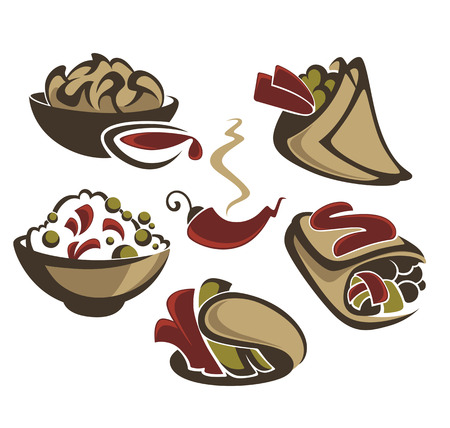 food ingredient: vector collection of traditional mexican fast food Illustration