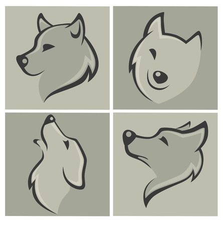 vector collection of wolf images and icons Illustration