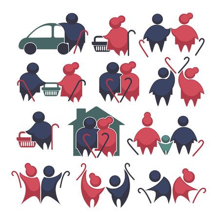 Glücklichen Ruhestand: Vektor-Sammlung von alten Leuten Symbole Standard-Bild - 37174494