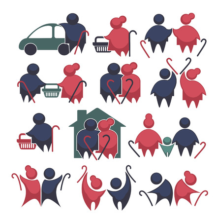 spouses: happy retirement: vector collection of old people symbols