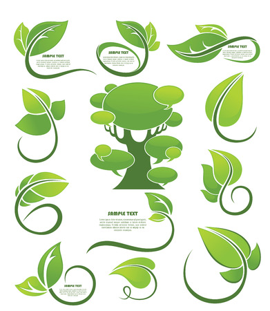vector collection of leaf frames, labels and stickers