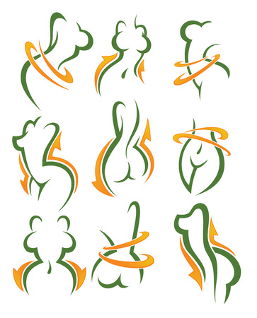 women health, beauty and diet symbols, emblems and icons