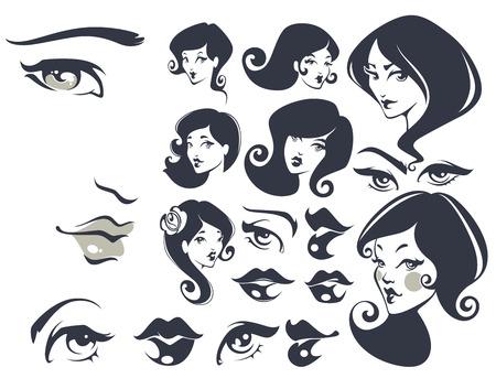 Caras hermosas, colección mujer vector Foto de archivo - 37398899