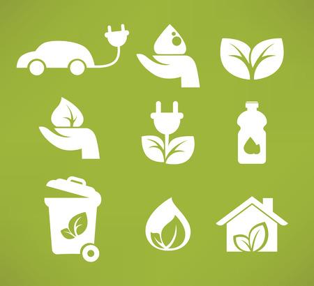 antipollution: iconos de la ecolog�a y s�mbolos vector de recogida