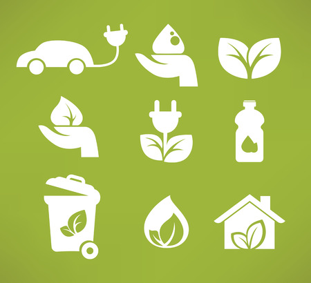 vector collection ecology icons and symbols