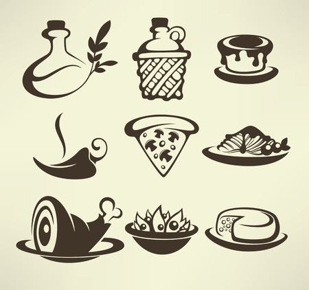Italian menu, vector collection of food and beverages symbols Vector Illustration