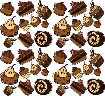 boulangerie: hand drawn cakes seamless pattern Illustration