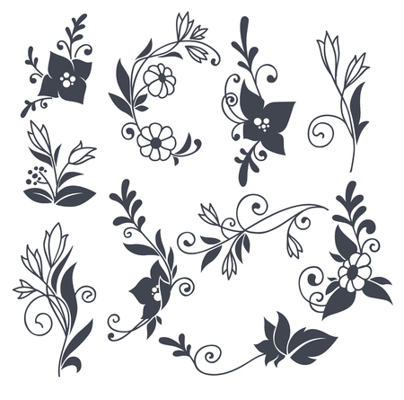 hand drown: vector floral elements in naive hand drown style