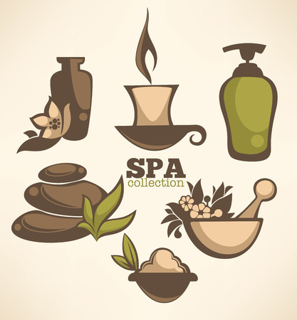 thai herb: vector collection of spa sign and symbols