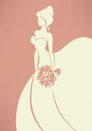 vecteur carte de voeux avec l'image de mariée romantique