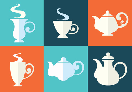 teapots: tea cups and teapots in flat style Illustration