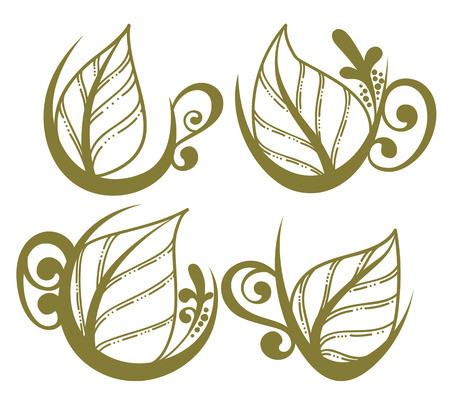 naive: green tea, vector collection of forms, symbols and images Illustration
