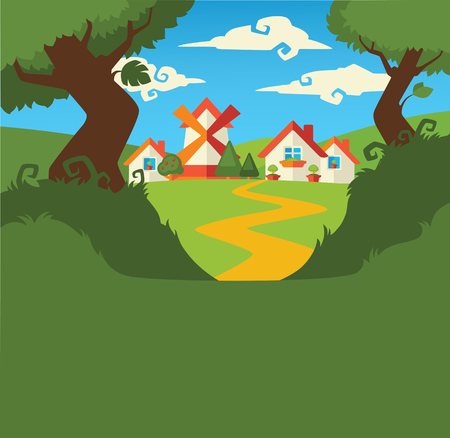 folk village: little cartoon village background Illustration