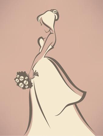 cérémonie mariage: mariée romantique en robe blanche Illustration