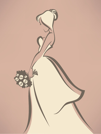 vintage dress: romantic bride in white dress