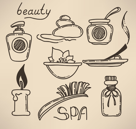 hot stones: hand drawn beauty and spa sign, icons, emblems and symbols