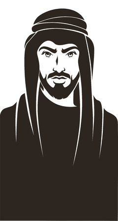 headscarf: handsome arabian man, vector background