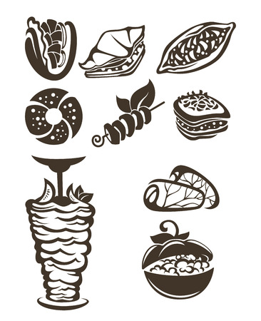 cooked rice: vector collection of arabian food images Illustration