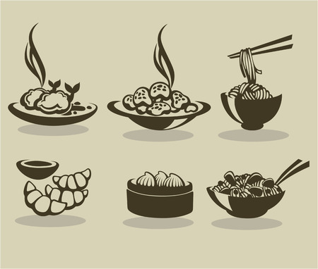 vector collection of asian food symbols