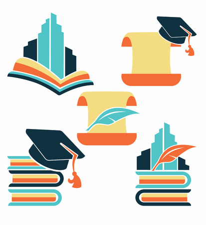 college education: education in university, vector collection of reading symbols, books, studying and education Illustration