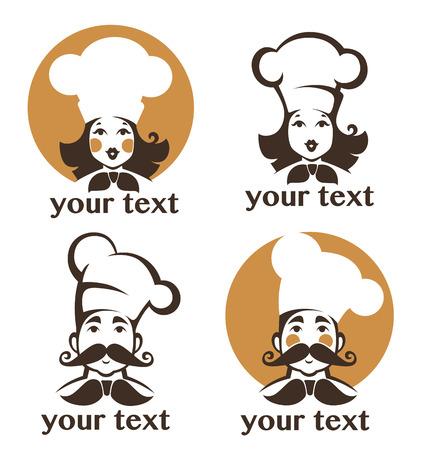 chef: hombre y mujer feliz cocinero Vectores