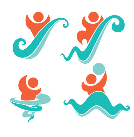 vector collection of aqua park and swimming symbols Vector