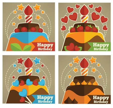 birthday cards: happy birthday cards and stickers collection Illustration