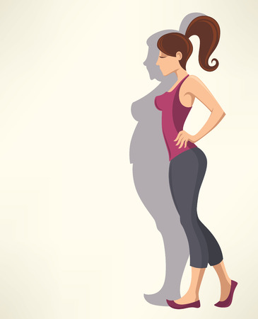 fat girl: successful diet, vector cartoon background