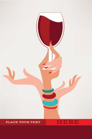 drink me: drink with me, glass and hand Illustration