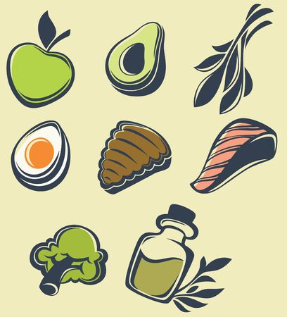 olive farm: vector collection of common healthy food