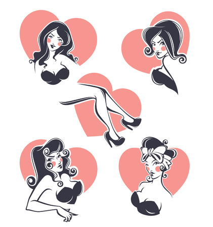 pinup avatars and portraits, vector collection Vector