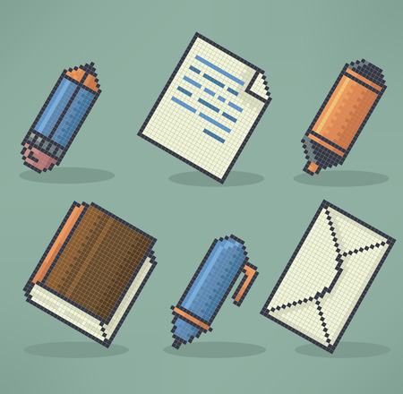 office, science end education objects and icons in pixel art style Vector