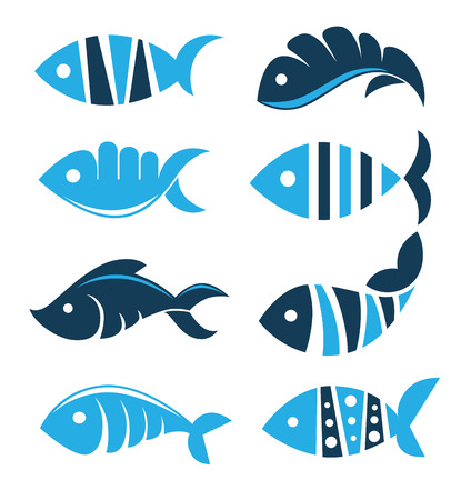 exotic fish: Set of vector fish icons, signs, symbols and emblems