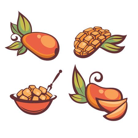 mango slice: fresh mellow mango, vector illustration