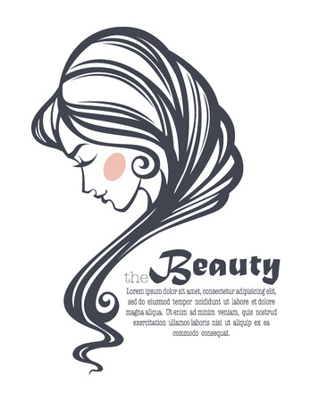 long hair: common beauty, vector image of girl face